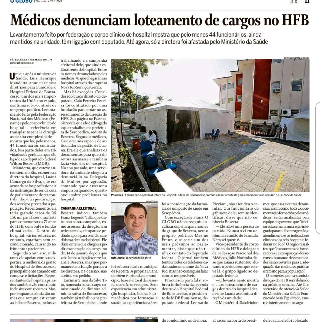 Fenam denuncia o loteamento político dos hospitais federais no Rio.