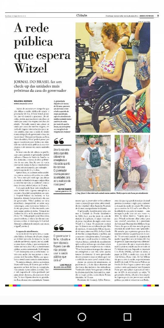 Em matéria do JB, deste domingo (06), FENAM e CREMERJ cobram ação efetiva do governador do Rio de Janeiro na área da saúde.