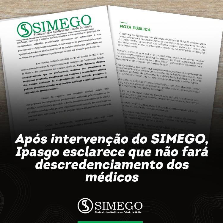 Por intervenção do SIMEGO, Ipasgo não fará descredenciamentos