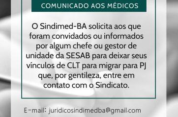 Sindmed-BA faz alerta contra pejotização