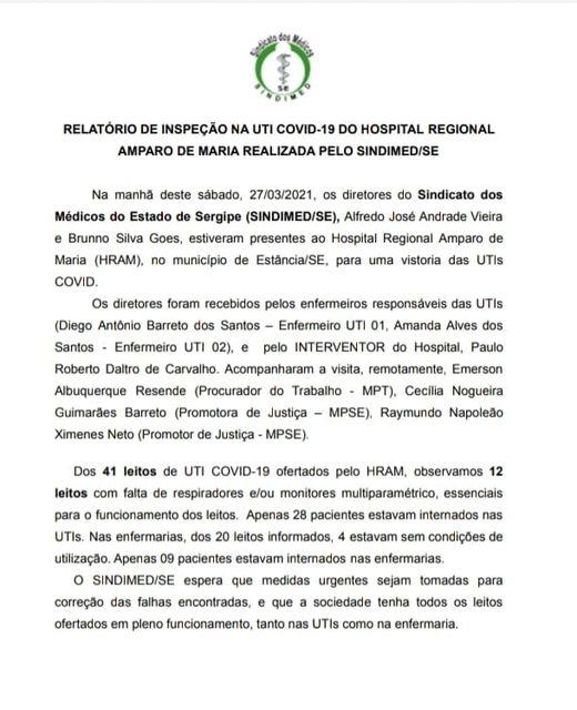 SINDIMED/SE denuncia leitos de UTI sem condições de uso em Estância