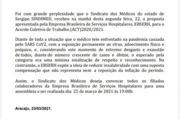 SINDIMED  realiza assembleia com médicos da EBSERH em Sergipe