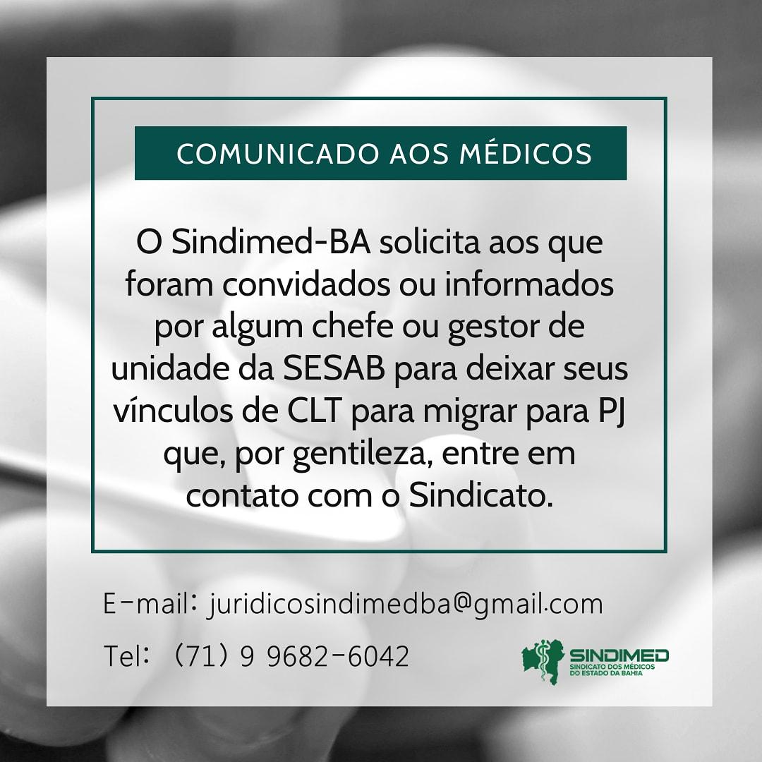 Sindimed-BA solicitou ao Cremeb apuração de ações de gestores da Sesab